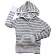 Knit Wear Baby Infant Toodler Grey Stripe Sweater Hoodie Size S