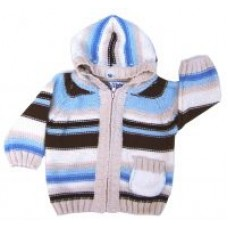Knit Wear Baby Infant Toddler Blue/Chocolate Sweater Hoodie Size XXL