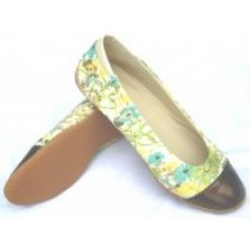 Woman Flowerpatch Green Flat Shoes